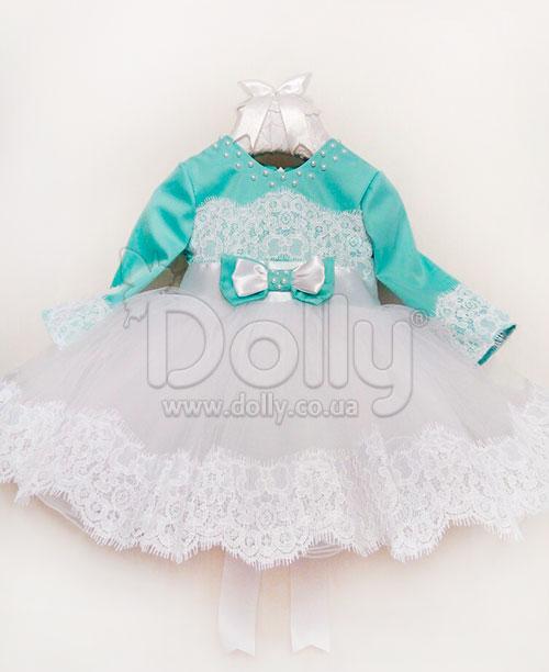 Платье Адриенн бело-бирюзовое