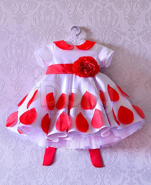 Платье Аими бело-красное