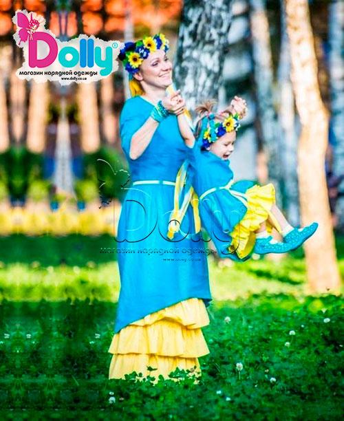 Платье Украинка жёлто-синее