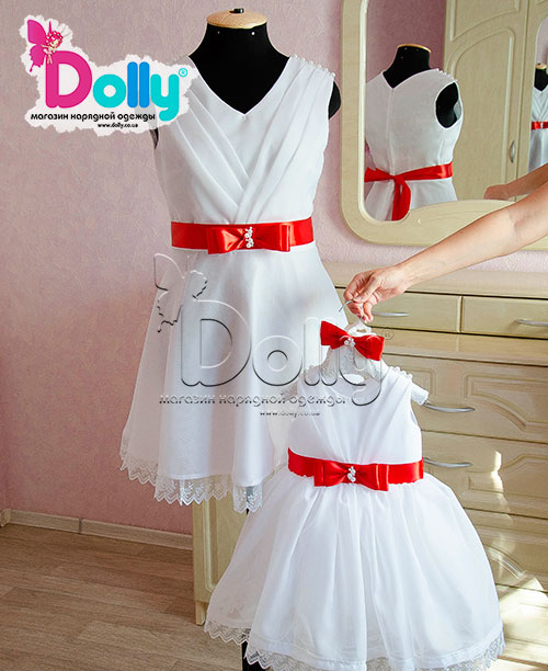 Платье Рафаель бело-красное