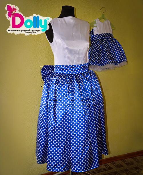 Платье Морская рябь бело-синее