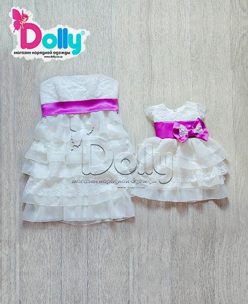 Платье Ребека бело-фиолетовое