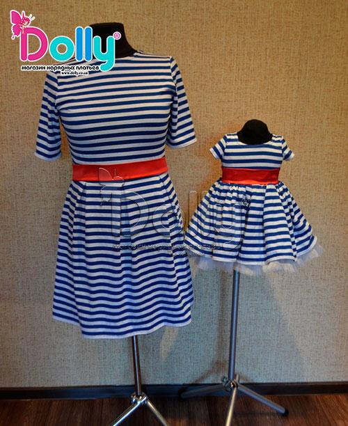 Платье Французская морячка разноцветное