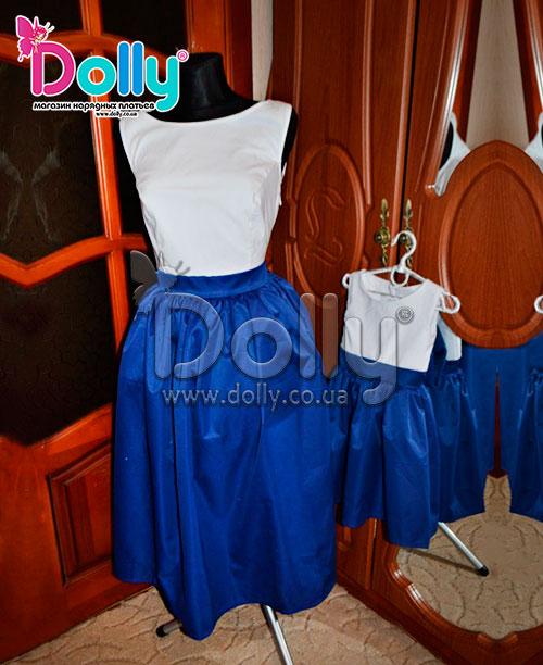 Платье Шейла бело-синее
