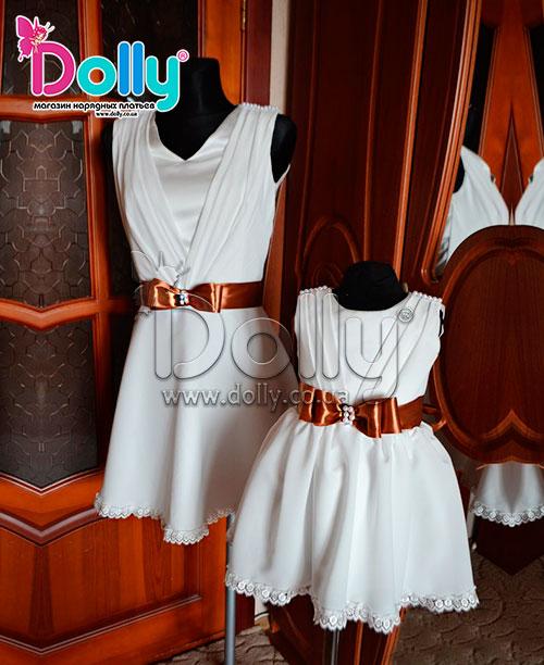 Платье Юнити бело-коричневое