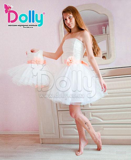 Платье Кирстэн бело-персиковое