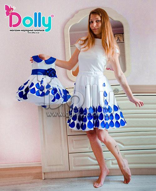 Платье Кортни бело-синее