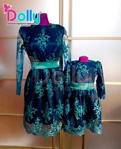 Платье Мадонна тёмно-синее