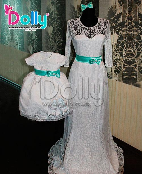 Платье Океан бело-бирюзовое