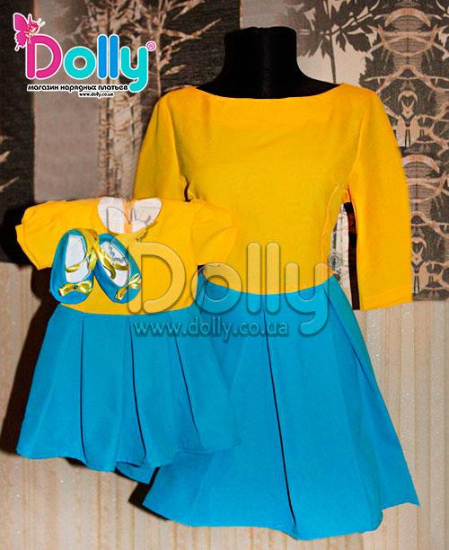 Платье Этник жёлто-синее