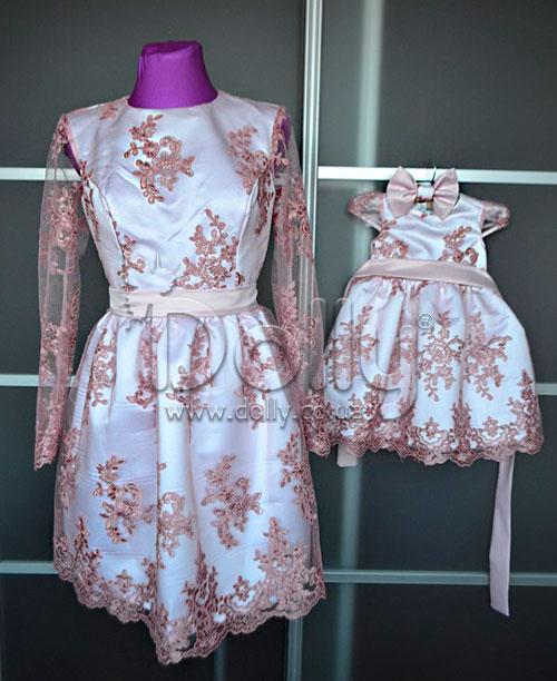 Платье Анджель бело-розовое