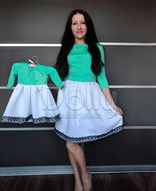 Платье Флоренция бело-бирюзовое