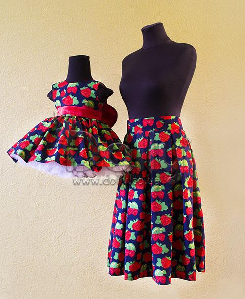Платье Клубничка разноцветное