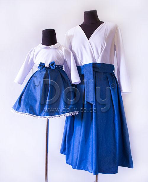 Платье Надия бело-синее