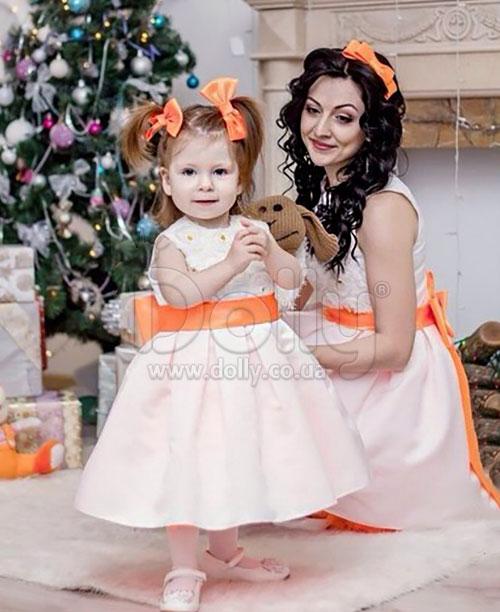 Платье Ларина бело-оранжевое