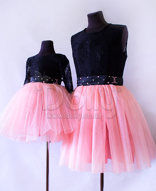 Платье Магнолия розово-чёрное