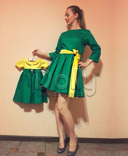 Платье Иден жёлто-зелёное