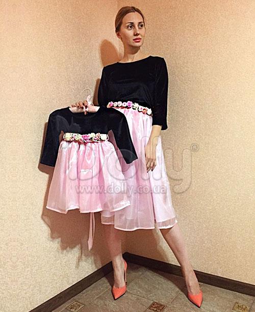Платье Кларибелла розово-чёрное
