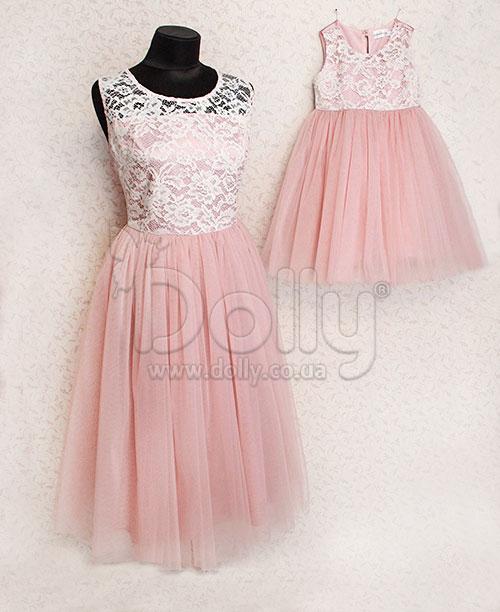 Платье Аполлин бело-розовое