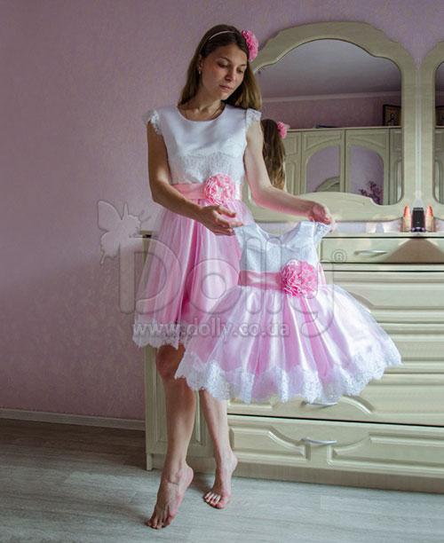 Платье Согдианна бело-розовое